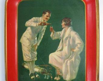 Coca-Cola genuine 1926 tin lithograph serving tray 8.5 condition
