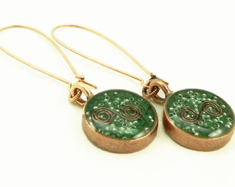 Orgone Energy Earrings - Long Dangle Earrings - Malachite Gemstone in Copper - Artisan Jewelry