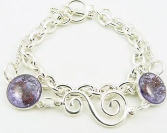 Orgone Energy Charm Bracelet - Silver w/Amethyst Gemstone - Multi Strand Bracelet - Cannes Celebrity Gift - Artisan Jewelry