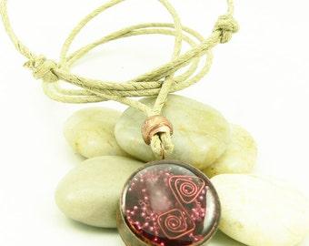 Orgone Energy Copper-Hemp-Red Garnet Necklace - Recycled - Reclaimed - Eco Friendly Jewelry - Unisex Necklace - Artisan Jewelry