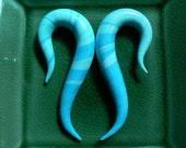 Small 5/8 Inch Gauge Earrings - Blue Twist Discounted
