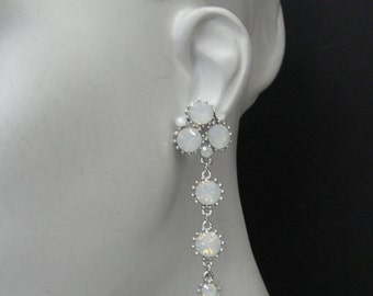 Cluster dangle earring as seen on Kristin Bauer as Pam  on True Blood S3 Made with White Opaland plated on Silver  617SE