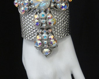 Silver  Medieval- styled Cross Cuff  made wit Crystal AB swarovski Crystals CWX