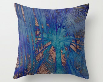 Blue Palm Sofa Pillow, Blue Accent Pillow, Tree Throw Pillow Cover, 18x18 24x24 Decorative Pillow Cushion