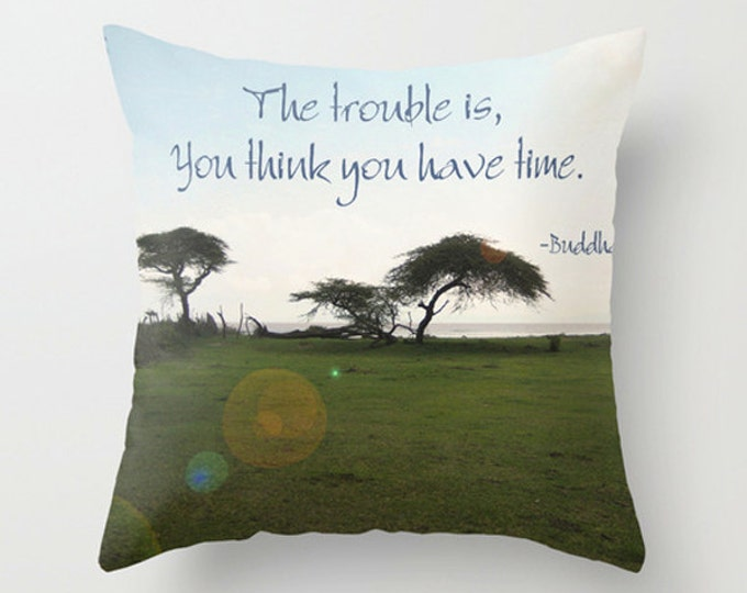 Buddha Inspirational Quote Sofa Pillow, Blues Greens Accent Pillow, African Neutral Pillow Cover, 18x18 22x22 Decorative Pillow Cushion