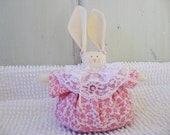Bunny Petite Shelf Sitter Dark Pink and White with Light Pink Ribbons and White Lace