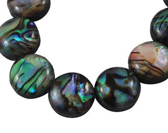 s00364 - 1 Handmade strand Abalone / Paua Shell Beads, flat round, green, blue, black, purple about 10.5mm diameter, 5.5mm thick, hole: 1mm,