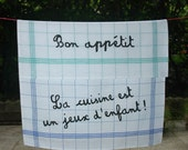 Two French Linen Tea Towels - Dish Towel - Kitchen Towel