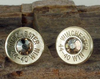Bullet  Earrings  - Stud Earrings - Ultra Thin - Winchester 44-40 - Gold Rush