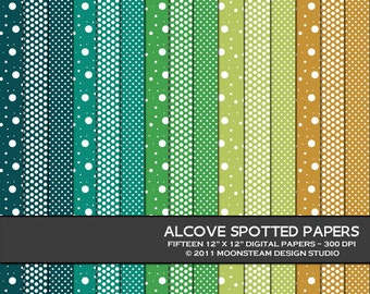 Blue, Green, Gold Polka Dot Digital Papers, Alcove Spotted Digital Backgrounds, 8.5x11 or 12x12 or A4, Personal or Commercial Use