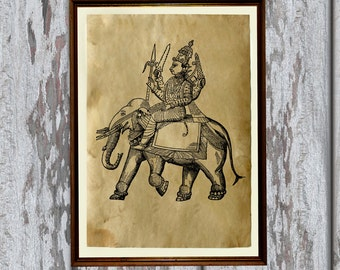 Indru print Hindu God Old paper Vintage art antique looking AK315