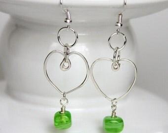 Sterling Silver Wire Heart Earrings, Recycled Projects, Silver Wire Earrings, Heart Shaped Jewelry, Wire Earrings, Metal Work Earring