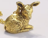 Vintage Golden Deer Fawn Perfume Locket Pendant Necklace