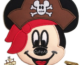 Pirate Mickey Mouse Face No Sew Applique Patch