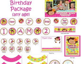 Monkey Love Birthday Package Printout - Birthday 1 year old 2 years old girl 1st birthday party or 2nd birthday Party