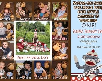 Sock Monkey Invitation Boy - Sock Monkey Invite - 1st Birthday Party Invite - Sock Monkey Birthday  - Sock Monkey Party 12 Month Photo
