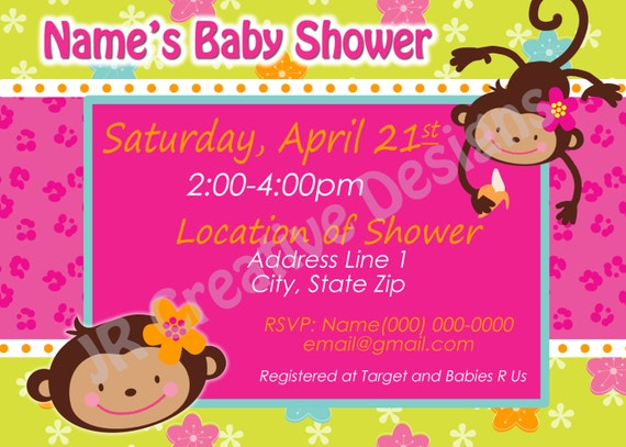 Monkey love party invitations - photo#20