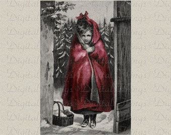 Fairy Tale Red Riding Hood at Grandmother House Wall Decor Art Printable Digital Download for Iron on Transfer to Fabric Pillows DT202