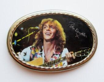 Vintage 70s Peter Frampton Pacifica Style Color Photo Belt Buckle