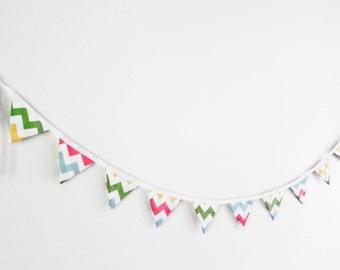 Chevron Bunting - Pink, green, blue, yellow chevron, riley blake fabric bunting, photo prop, baby decor, party decor