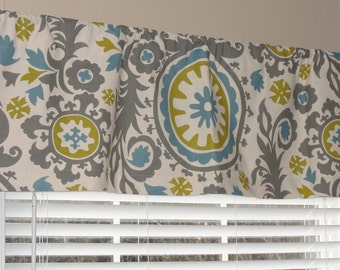 """Premier Prints Summerland Suzani Valance 50"""" wide x 16"""" long Lined or Unlined Gray Citrine Yellow Blue"""
