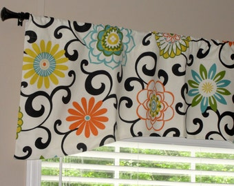 "Waverly Pom Pom Play Confetti Arch Shaped Valance 52"" x 19"" Big Bold Flowers Lined Orange Green Turquoise Yellow Black"