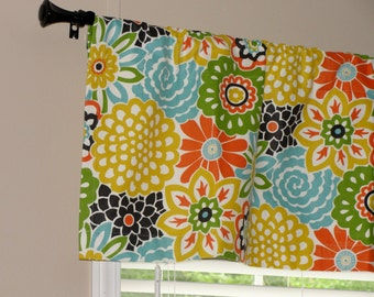 "Waverly Button and Blooms Confetti Valance 50"" x 16"" Big Bold Bright Flowers Lined with Cotton Muslin Orange Green Turquoise Yellow Black"