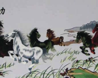 embroidery horses -chinese silk  embroidery,chinese art ,home decor,silk wall hanging,embroidery art