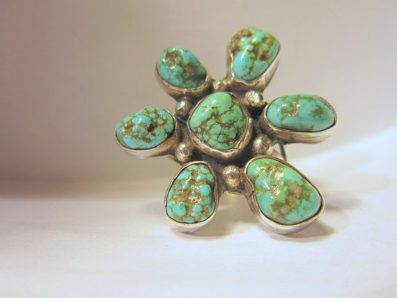 Vintage Turquoise Flower Sterling Silver Ring