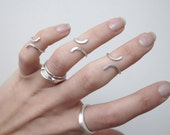 Knuckle ring sterling silver hammered ring, midi ring, adjustable ring