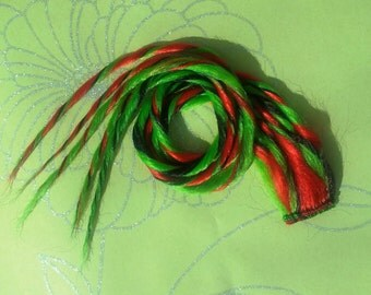 Green Red & Black Clip in Zombie Dread Hair Extension 21 inches Hand Wefted Long Ready To Ship