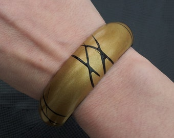 Vintage Painted Bangle Gold with Black Stripes & Crosses