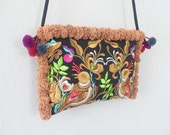 Black Gold With Light Brown Pom Pom Purse Cross-Over Bag Fashionable Hill Tribe Fair Trade (BG811P-GD5)