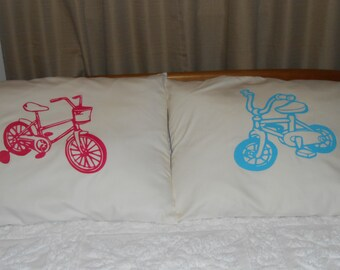 Cute Boy or Girl  Bicycles, Hand Painted, Pillowcase for Child's Bedroom Decor
