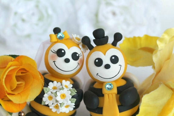 Bee Wedding Cake Topper Personalized Bride And Groom