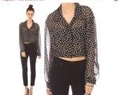 black white polka dot blouse // vintage 90s // sheer // cropped // Contempo Casuals // medium
