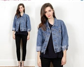 denim jean jacket blue // vintage 90s // Bill Blass // slouchy relaxed fit // classic // cropped // small medium