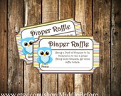 INSTANT DOWNLOAD- Blue Owl Printable Baby Shower Diaper Raffle Ticket