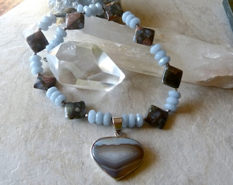 Agate Heart Pendant - Faceted Angelite - Serene Blues and Browns Elegant Necklace