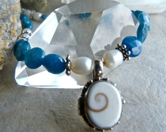 Shiva Shell Locket - Blue Apatite with Fresh Water Pearl - Elegant Bali Silver Artisan Necklace