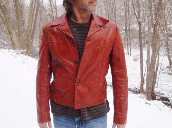 Hipster Leather Jacket. Burnt Orange Brandy Men's Short 70s Coat