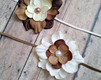 newborn photography prop,2 brown skinny elastic halo headband with brown and cream flowers, twin baby shower gift,  baby photo prop