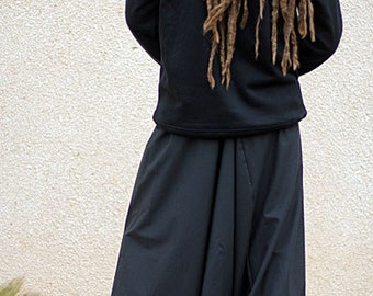 Black Men's Harem pants. 100% cotton drill, Hippie Fisherman Pants for yoga, meditation