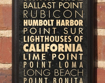 California CA Lighthouses Wall Art Sign Plaque Gift Present Home Decor Custom Personalized Color Vintage Style Classic