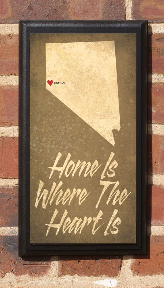 Home Is Where The Heart Is - Customizable Nevada  Vintage Style Plaque / Sign Decorative & Custom
