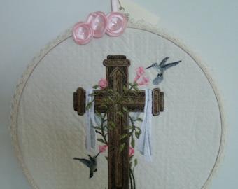 Cross and Hummingbird Wood Hoop Framed Wall Hanging