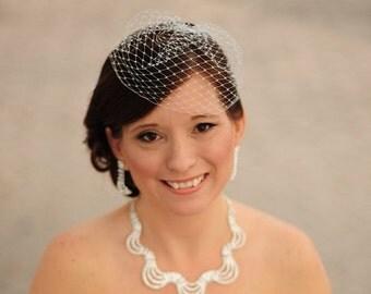 Ivory Birdcage Veil, Blusher Veil, Round Veil, Birdcage Veil, Bridal Veil, Wedding Veil, Bridal Birdcage Veil, Small Wedding Veil