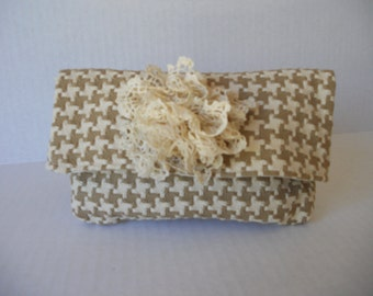 Taupe and beige houndstooth cotton clutch, with and without a vintage lace floral accent. Wedding, Prom, Quinceanera.