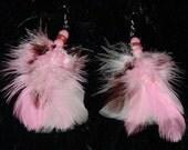 DANGLE FEATHER EARRINGS Long Earrings Burlesque Jewelry Rocker Chic Boho Bohemian Hippie Jewelry Earrings Gypsy Jewelry Brown Pink White