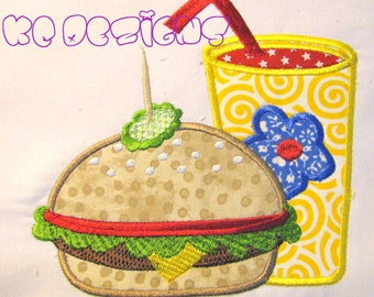 Burger and Coldrink Machine Applique Embroidery Design - 5x7 & 6x8